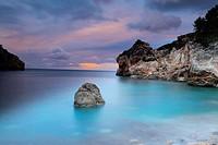 Cove in the evening after a storm, Serra de Tramuntana, Deia, Majorca, Balearic Islands, Spain