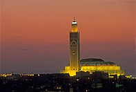 overview with Hassan II Mosque in the background, Casablanca, Morocco, North Africa.