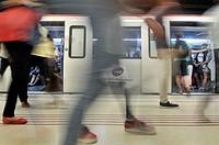 Subway station. Barcelona. Catalonia. Spain.