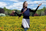 Girl Walking in field, Allergy Free