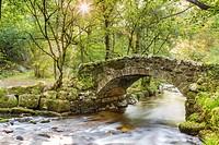 Hisley Bridge crossing the River Bovey, Dartmoor National Park, Lustleigh, Devon, England, United Kingdom, Europe.