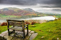 Bench overlooking Loweswater in the Lake District National Park, Cumbria, England.