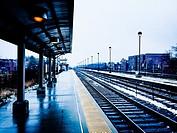 Empty train station platform. Oak Park, Illinois.