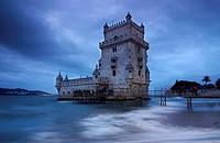 Portugal. Lisbon. Belem. Torre de Belem (Heritage) on the bank of the river Tagus. Manueline style building . Francisco de Arruda.