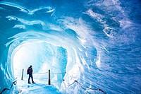 Grotte de Glace, Mer de Glace and Montenvers, Chamonix Mont-Blanc, Haure-Savoie, Rhône-Alpes, France.