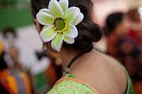 "DHAKA, BANGLADESH - FEBRUARY 13 : Bangladeshi youths wearing traditional saris and ornate jewellery take part in the """"Basanta Utsab"""" or spring Festi..."