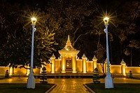 Night photograph of side gate of the Royal Palace in the capital city of Phnom Penh, Cambodia.
