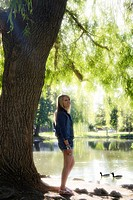 A young woman outdoors in Spokane, Washington, USA.