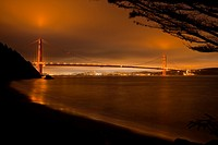 Golden Gate Bridge, San Francisco, Bay Bridge, CA, USA, night.