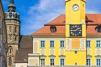 View of St. Peter´s Cathedral and Townhall of Bautzen, Saxony, Germany.