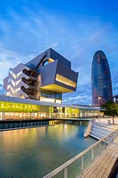 Agbar building and Design Museum of Barcelona, Barcelona, Spain.