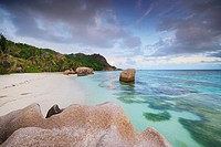 Typical granite rock formations of famous Anse Source d´Argent Beach, La Digue Island, Seychelles, Indian Ocean, Africa.