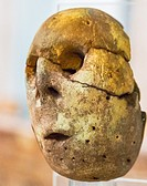 Egypt, Cairo, Egyptian Museum, a painted clay head of an idol. Predynastic, Maadi culture, found in Merimde Beni Salame.