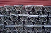 Lobster traps stacked against red wall, Gros Morne NP, NL, Canada.