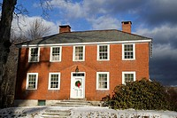 A brick home in Fitzwilliam, New Hampshire, United States, North America. Editorial use only.