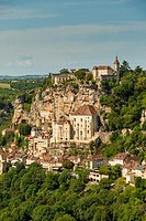 France, Midi-Pyrénées, Rocamadour. A small village built on a cliff face. It is known for the Cité Réligieuse buildings, accessed via the Grand Escali...