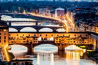 Florence, Ponte Vecchio at Sunset from Piazzale Michelangelo.
