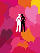 A black and a white silhouette of a human leaning against each other. Hearts connected. Surrounded by a large heart pattern. Retro style.