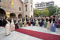 Group of people wearing old traditional clothes participating at a festival at Veroia at North Greece Macedonia.