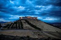 Jadraque Castle is built on a pleateau on top of a high, steep hill. Jadraque, Guadalajara, Spain.