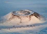 Top view of Icelandic horses in the wintertime by Skutustadagigar pseudo craters, Myvatn, Northern Iceland.