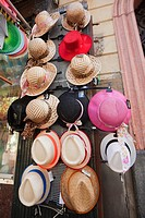 Hats for sale in the city centre, Atlantic Ocean, Cadiz City, Andalusia, Spain, Europe.