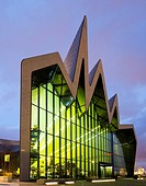 Night view of Riverside Museum, home of transport museum, in Glasgow, Scotland, United Kingdom.
