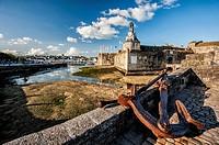Anchor in entrance of Concarneau citadel (department of Finistère, region of Bretagne, France).