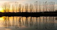 Sunset in Gévora river. Alburquerque. Province of Badajoz. Extremadura. Spain