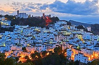 Casares, Dusk, Costa del Sol, Malaga Province, Andalusia, Spain.