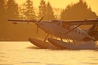 Turbine Single Otter floatplane landing in Nanaimo harbour, Nanaimo, Vancouver Island, British Columbia.