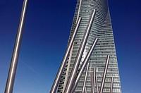 Skyscraper with sculptures in business area of ??the Cuatro Torrres, Madrid