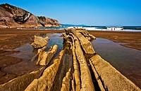 Flysch, Cliff, Itzurun Beach, Zumaia, Bay of Biscay, Cantabrian Sea, Gipuzkoa Province, Basque Country, Spain, Europe.