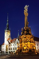 Holy Trinity Column and Town Hall at night. Olomouc, Moravia, Czech Republic.