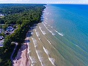 The scenic shore of Lake Huron at Lexington Michigan.