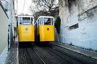 Elevador da Gloria, famous funicular in Lisbon, Portugal.