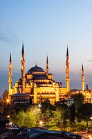 Sultan Ahmed or Blue Mosque at dusk. Turkey, Istanbul.