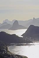 Brazil, State of Rio de Janeiro, Niteroi, View over Guanabara Bay towards Rio de Janeiro from Parque da Cidade.