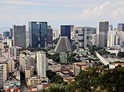 Brazil, City of Rio de Janeiro, City Center Skyline viewed from the Parque das Ruinas in Santa Teresa.