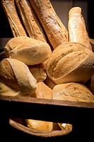 Close-up with different varieties of bread. Mahó, Minorca, Balearic Islands, Spain