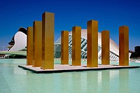 ´The Sky Over Nine Columns´ installation art by Heinz Mack at Valencia´s futuristic City of Arts and Sciences, Spain