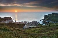 Flamborough Head at sunrise. Bridlington, Yorkshire, England, Uk, Gb.