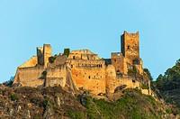 Castle Saint-Ulrich above Ribeauvillé, near Colmar, Upper Rhine, picturesque village, Alsace, France.