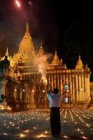 Myanmar, Bagan, Ananda temple, Thadingyut festival of lights, Fireworks.