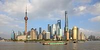 China, Shanghai, Pudong, skyline, Huangpu River,.
