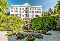 Fountain at Villa Carlotta in Tremezzina at Lake Como, Lombardy, Italy.