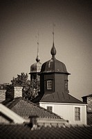 Old building rooftops in black and white. Small town building in Vadstena, Sweden.
