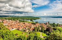 View over Angera across Lago Maggiore seen from the Castle, Varese, Italy.