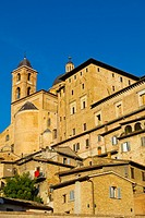 Duomo, residential houses and other buildings, centro storico, Urbino, Marche, Italy.