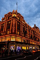 Harrods at Knightsbridge London in Christmas light decoration December 2016